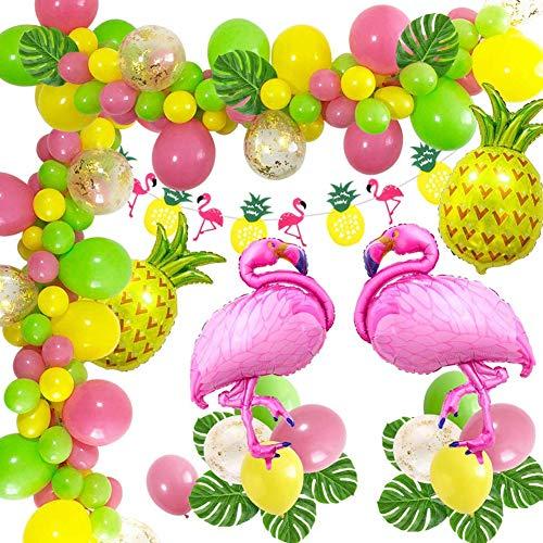 Hawaii Beach Party Dekoration, 43PCS Flamingo Sommer Ananas Helium Ballon, Kranz Banner und Dschungel Luau Hawai Tropical Beach Pool Thema Foto Requisiten für Party Dschungel Sommer Tischdekorationen