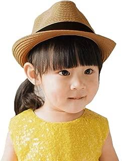 Aisa Unisex Kids Straw Sun Hat Trilby Fedora Jazz Cap