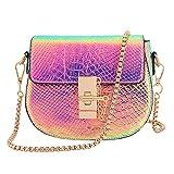 Candice Women Shiny Charming Chain Hologram Holographic Handbag Shoulder Bag Crossbody Bag for Gift