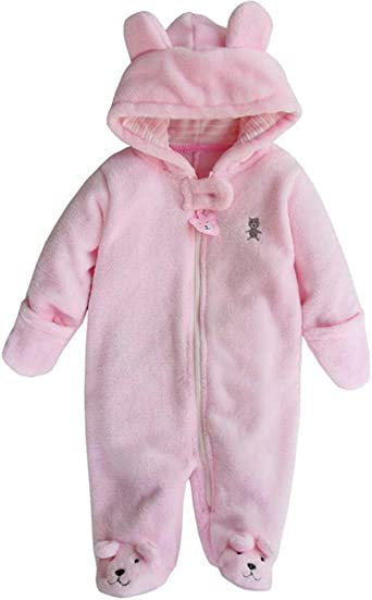 Runuo Neugeborenes Babyspielanzug,Infant Hooded Fleece Strampler Schneeanzug Kleinkind Onesies Overall