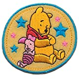 Iron on Patches - Winnie The Pooh 'Winnie & Piglet' Disney - Yellow - 6,3x5,7cm - Application Embroided Patch Badges