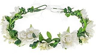 Vividsun Wedding Hair Wreath Floral Garland Crown Headpiece Adjustable Rose Flower Crown (A-white)