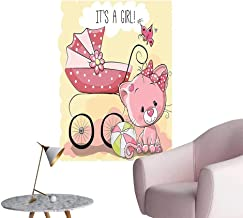Vinyl Artwork Cute Kitten Baby Carriage Cat Kids Its A Girl Family Light Yellow Easy to Peel Easy to Stick,28