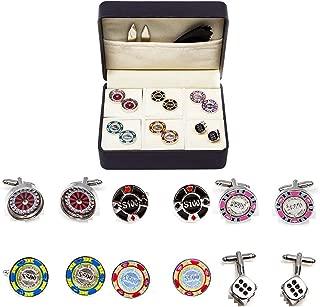 MRCUFF Casino Chips Poker Roulette Blackjack Craps 6 Pairs Cufflinks in a Presentation Gift Box, Collar Tabs & Polishing Cloth