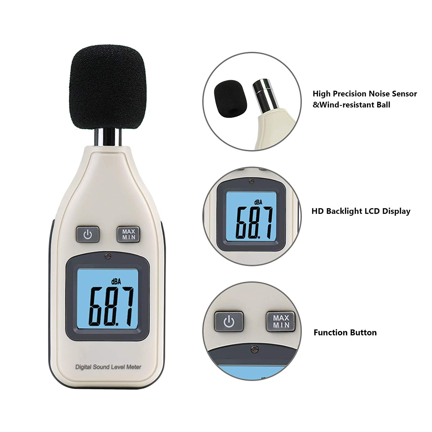 Decibel Meter Digital Sound Level Meter 30-130dB Range,Max//Min//Data Hold,Self-Calibration Noise Meter,Noise Volume Measuring Instrument with Auto Backlight LCD Display Fourth Generation-A A