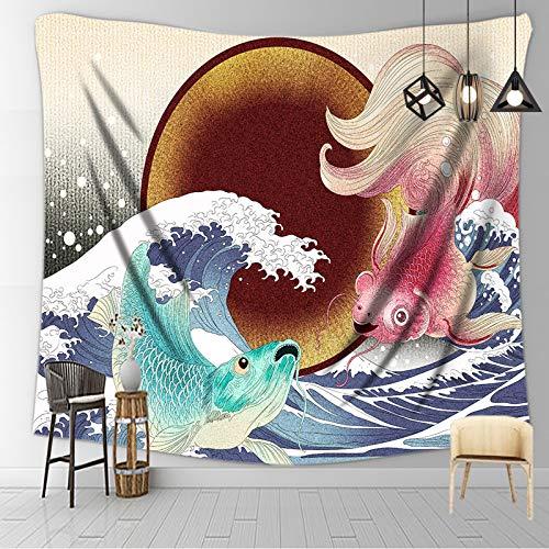MELAG Tapiz Psicodélico Tapices Decorativos Tapiz japonés para Colgar en la Pared Estilo Ukiyo-e con Herramientas de instalación (pez Carpa)