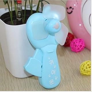 QianQi Ventilador pequeño portátil presionado a Mano para niños Mini Ventilador, Ventilador pequeño portátil de Verano al Aire Libre Ventilador presionado a Mano Apple (Azul)