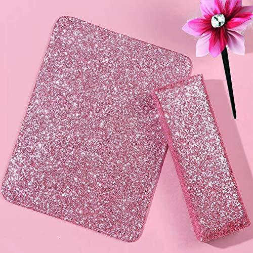 YUOKI99 Soporte de mano para manicura brillante con alfombrilla de almohada, esponja para decoración de uñas, herramienta cómoda, lentejuelas, accesorio de cojín (rosa)