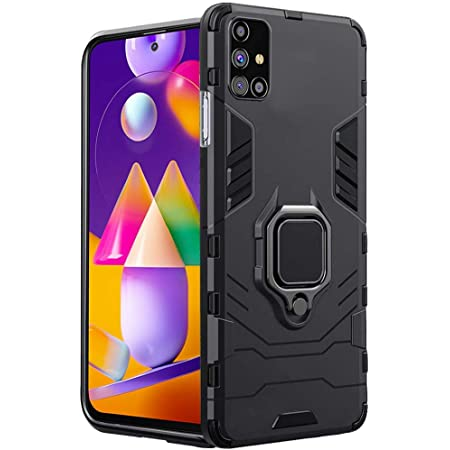 wow imagine samsung galaxy m31s tough armor bumper back case cover | ring holder & kickstand in-built | excellent 360 degree protection (carbon black) - Black