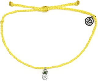 Pura Vida Silver or Gold Pineapple Enamel Charm Bracelet - Adjustable Band, 100% Waterproof