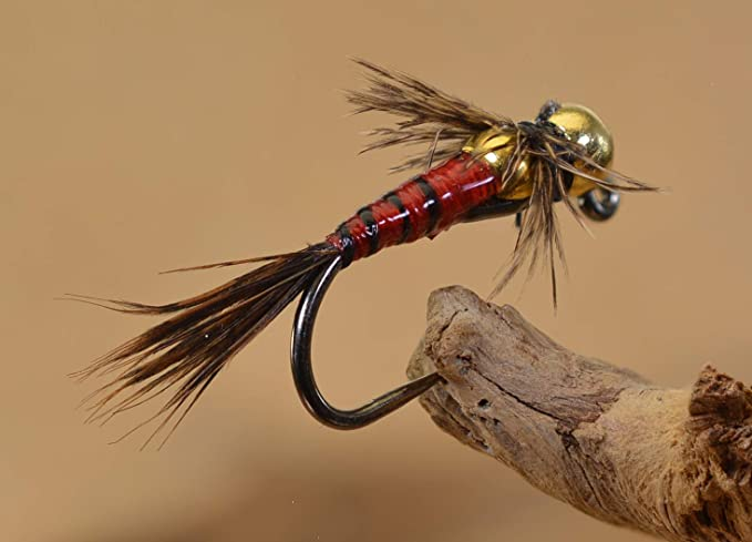 1 DOZEN  TUNGSTEN HEAD RED NYMPHS FOR FLY FISHING-TUNG 218