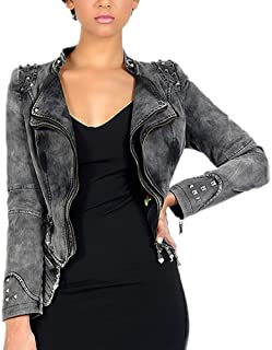 DISSA PA01 Women Faux Leather Biker Jacket Slim Coat Leather Jacket