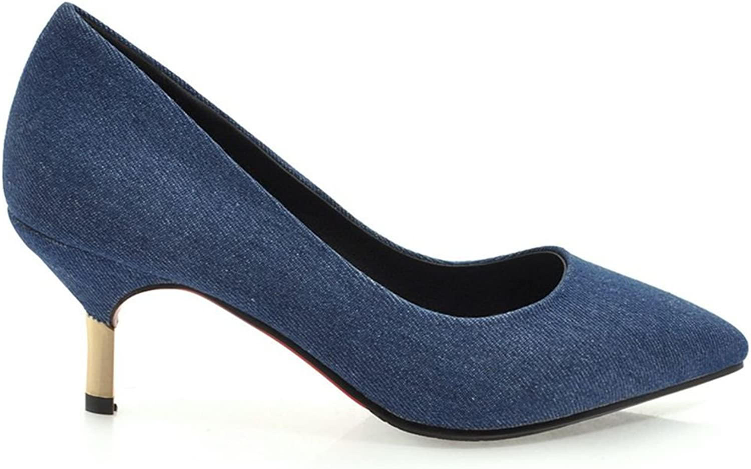 Kaloosh Women's Denim Sexy Pointed Toe Thin Heel Court shoes Dark bluee