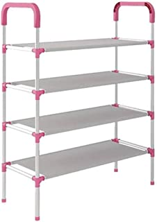 3one3 Shoe Rack Organizer 4 Layer Cabinet Multipurpose Stand 4-Tier Book Storage Shelf for 12 Pairs of Shoes for Closet En...