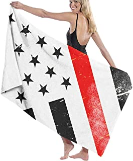 Jearvy Thin Red Line Flag Tattoo Adult Microfiber Beach Towel Oversized 31x51 Inch Quick Dry Highly Absorbent Multipurpose Use Beach Blanket for Women Men