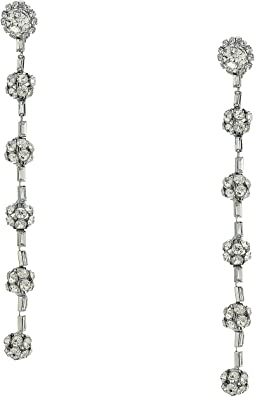 "4.5"" Silver with Clear Crystal Five Fire Ball Clip Earrings"