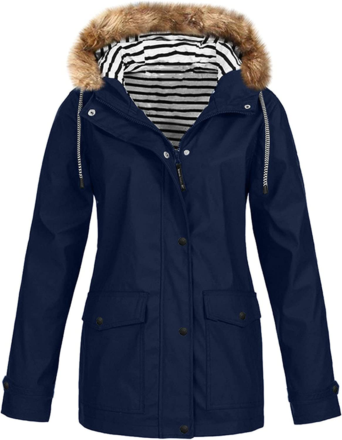 Women's Trench Coats,Women's Plus Plush Hooded Large Outerwear Outdoor Raincoat Waterproof and Windproof Solid Color Jackets