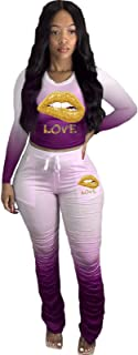 Women's Sweatpants Tracksuit Two Piece, Outfits Tracksuit Jogger Outfit Sweatshirt and Sweatpants Sports Sets,Purple,XXXXL