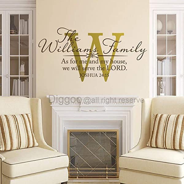 As For Me And My House We Will Serve The Lord Joshua 24 15 Wall Decal Personalized Family Name Decal Scripture Wall Art Quote 24 H X 46 W Plus Free Welcome Door Decal