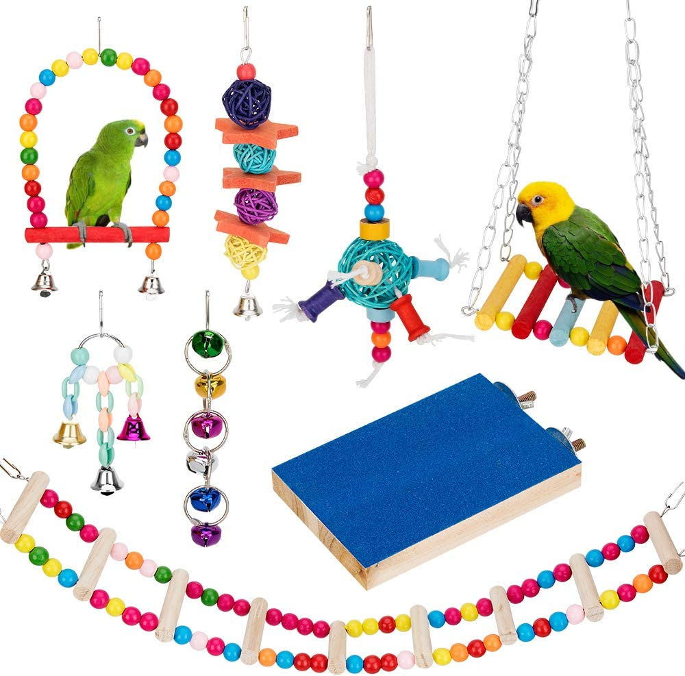 Bird Parrot Toys sold Omaha Mall out Swing Toy Hammock Cage Hanging