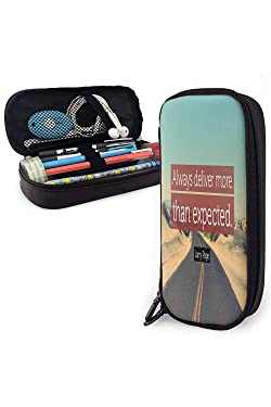 """Celebrity Motto Inspirational Quotes Pen case """"Always Deliver More Than Expected.""""— Larry Page Suitable for School/Office 3.54x7.87x1.57Inches"""