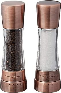 COLE & MASON Derwent Salt and Pepper Grinder Set - Copper Mills Include Gift Box, Gourmet Precision Mechanisms and Premium Sea Salt and Peppercorns