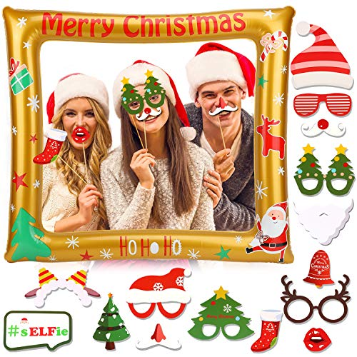 Konsait Christmas Photo Booth Frame Blow Up Inflatable Selfie Picture Frame with 15pcs Photo Booth Props DIY Kit for Christmas Party Decoration Favor Supplies New Year Xmas Decor