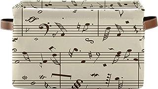 Alarge - Panier de rangement pliable avec poignées - Motif notes de musique abstraites - Pour la maison, le bureau, la cha...
