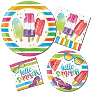 """Hello Summer"" Beach Picnic Pool Party Supply Pack! Bundle Includes Paper Plates & Napkins for 8 Guests"