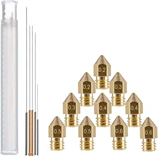 YOTINO 10pcs MK8 Brass Extruder Nozzle Print Head & 5pcs Cleaning Needles for 1.75mm Makerbot Creality CR-10 ANET A8 M6 3D Printer (0.2mm,0.3mm,0.4mm,0.5mm,0.6mm)