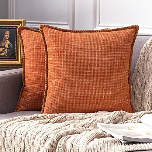 MIULEE Copricuscini 2 Pezzi Elegante Federe per Cuscini Lino Riutilizzato Soggiorno Interno Divano Giardino Lavabile per Ufficio Classico Resistente Salotto 6X60 CM Arancio