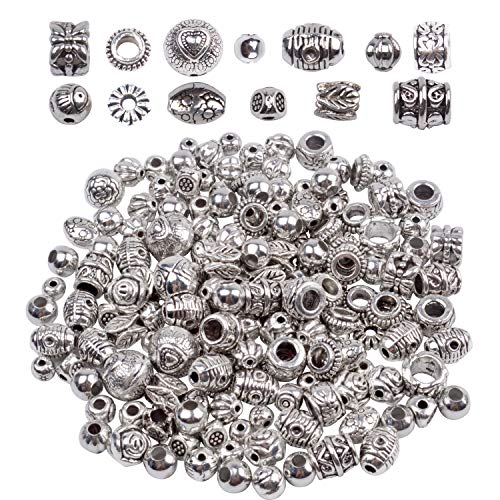 BronaGrand 100g (About 130-180pcs) Antique Silver Round Small Beads Jewelry Bead Charm Spacers for Jewelry Making Bracelets Necklace