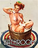 Bathroom Pinup Pin-up Girl 6x8inch METAL Wall Sign Plaque
