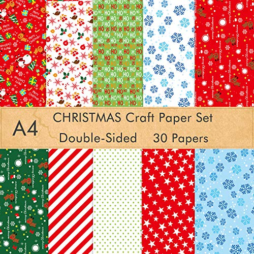 FEPITO 30 Sheets Christmas Pattern Paper Set, A4 Decorative Paper for Card Making Scrapbook Decoration, 10 Designs