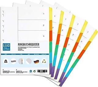 Lot de 5 intercalaires à anneaux - 6 onglets de 6 couleurs - 29,6 x 21,1 cm - Perforés - 160 g/m² - Format A4 - Intercalai...