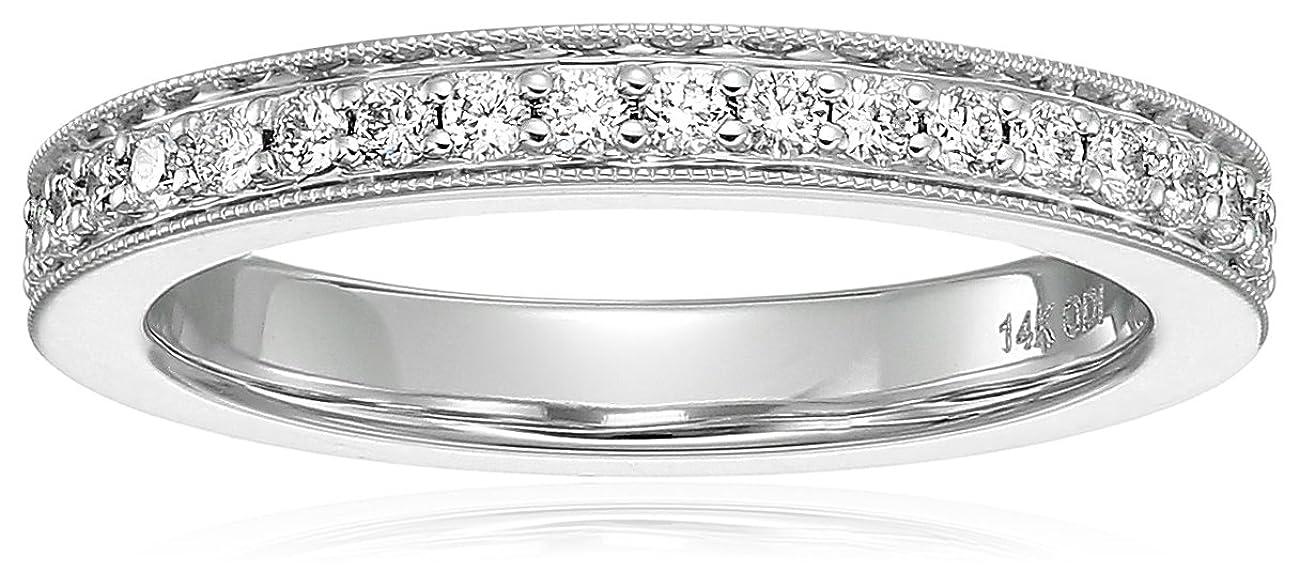 14k White Gold Diamond Millgrain Edge Eternity Ring (1/2cttw, I Color, I1 Clarity)