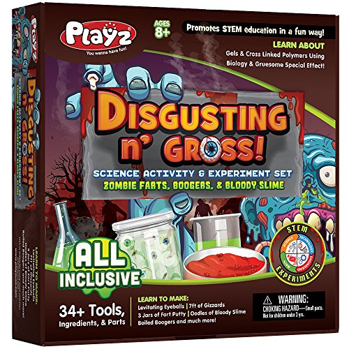 Playz Disgusting n' Gross Zombie Poop, Boogers, & Bloody Slime Science Activity & Experiment Set - 34+ Tools to Make Levitating Eyeballs, Gizzards, Poop Putty & Boiled Boogers for Boys & Girls Age 8+