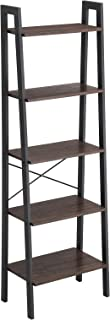 VASAGLE Industrial Ladder Shelf, 5-Tier Bookcase, Storage Unit, with Metal Frame, for Living Room, Kitchen, Rustic Dark Brown ULLS45BF