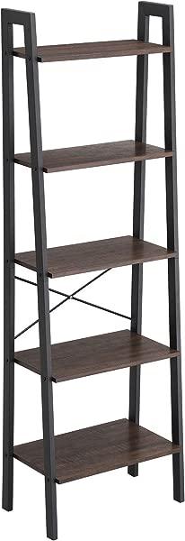 VASAGLE Industrial Ladder Shelf 5 Tier Bookcase Storage Unit With Metal Frame For Living Room Kitchen Rustic Dark Brown Black ULLS45BF