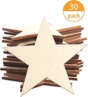 SBYURE 30 Pack Unfinished Wood Cutout 3 Inch Wooden Star Cutouts Unfinished Star Shaped Wood Pieces for Wooden Craft DIY Projects,Home Decoration,Gift Tags