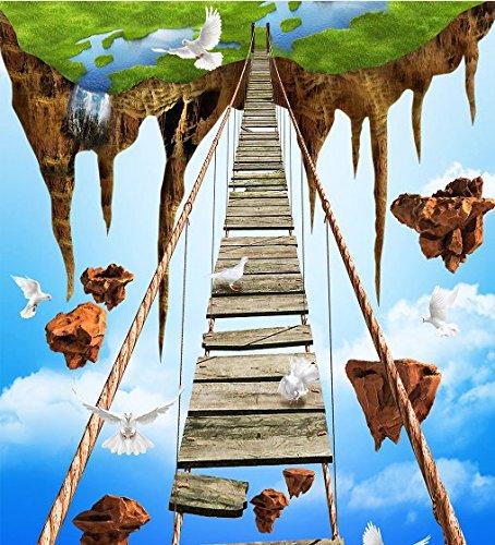 Wongxl Custom 3D Posters Shopping Salle De Bains Carreaux Décorent Le Pont De Corde Aventure Sky Island Affiches 350cmX300cm