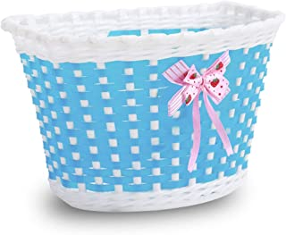 DRBIKE Kids Bike Basket for 12 14 16 18 inch Girls Bike, Kid's Bicycle Basket with Flower or Bowknot, Kids Bicycle Accessories