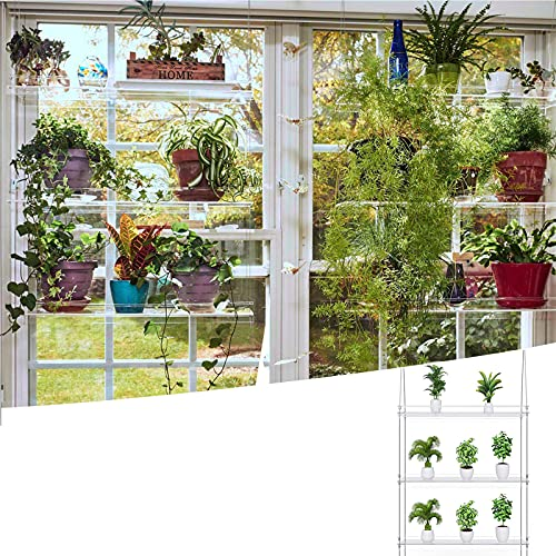 Clear Hanging Window Plant Shelves,-Tier Acrylic Floating Planter Shelves For Indoor Windows Wall,Hanging Plant Stand For Succulents Flower Pot Organizer Storage-3-thirds 20x45inch(50.8x114cm)
