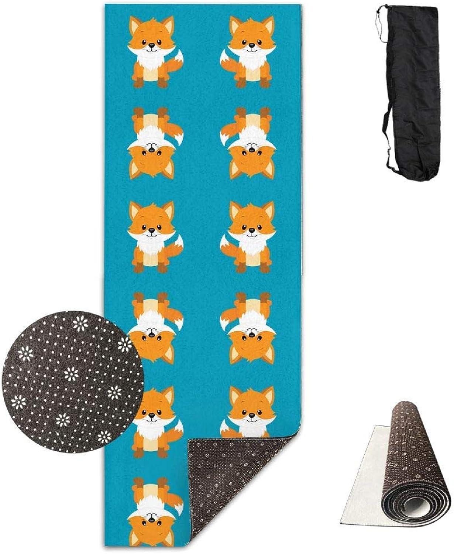 70Inch Long 28Inch Wide Comfort Velvet Yoga Mat, Cute Foxes Giftwrap (4433) Mat Carrying Strap & Bag