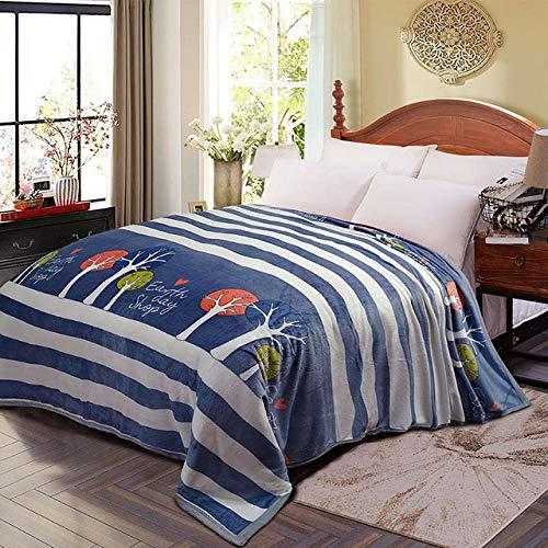 PengMu plaid voor bank en bed, flanel, elegant en comfortabel, kan niet in de wasmachine worden gewassen, blauwe strepen van de bol, onderhoudsvriendelijk voor volwassenen en kinderen.