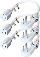 FIRMERST 1875W Flat Plug 1Ft Extension Cord 15A for Kitchen Home Appliance Office White (3 Pack)