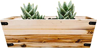 Thirteen Chefs Window Box Planter 24 Inch Large, Solid Acacia Wood for Indoor or Outdoor Balcony, Deck and Garden
