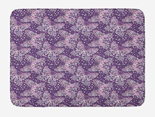 MSGDF Butterfly Bath Mat, Abstract Nature Image Lines and Swirls Floral Arrangement Valentines Day, Plush Bathroom Decor Mat with Non Slip Backing, 23.6 W X 15.7 W inches, Violet Lilac White