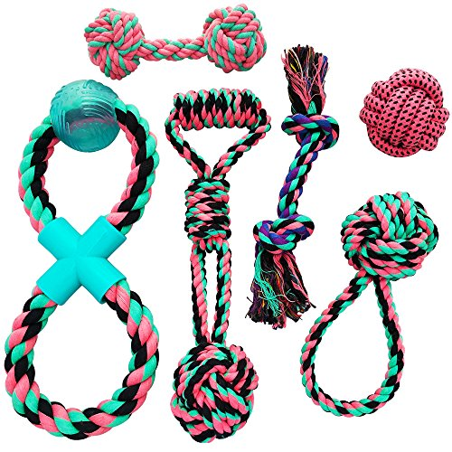 Otterly Pets Puppy Dog Cute Pink Boutique Rope Toys Set 6-Pack Bundle - Small to Medium Breed Girl Dogs