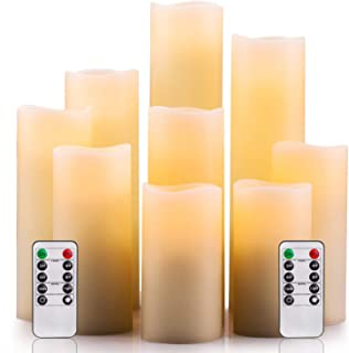 """Flameless Candles Battery Operated Candles 4"""" 5"""" 6"""" 7"""" 8"""" 9"""" Set of 9 Ivory Real Wax Pillar LED Candles with 10-Key Remote..."""